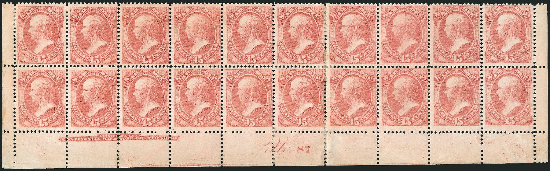 US Stamp Price Scott Catalogue # O90: 1873 15c War Official. Robert Siegel Auction Galleries, Nov 2014, Sale 1085, Lot 4166