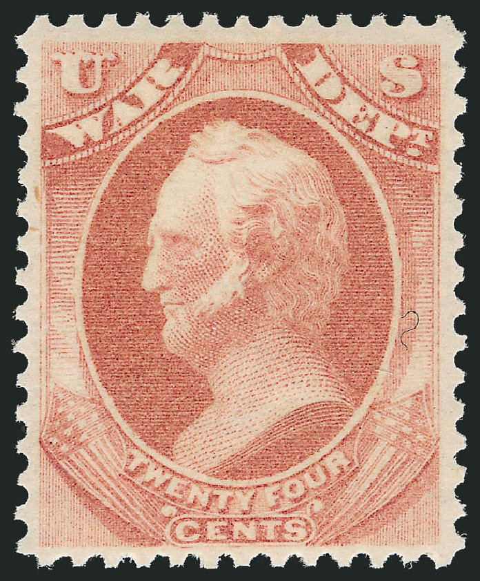 US Stamps Value Scott #O91: 24c 1873 War Official. Robert Siegel Auction Galleries, Nov 2014, Sale 1085, Lot 4167