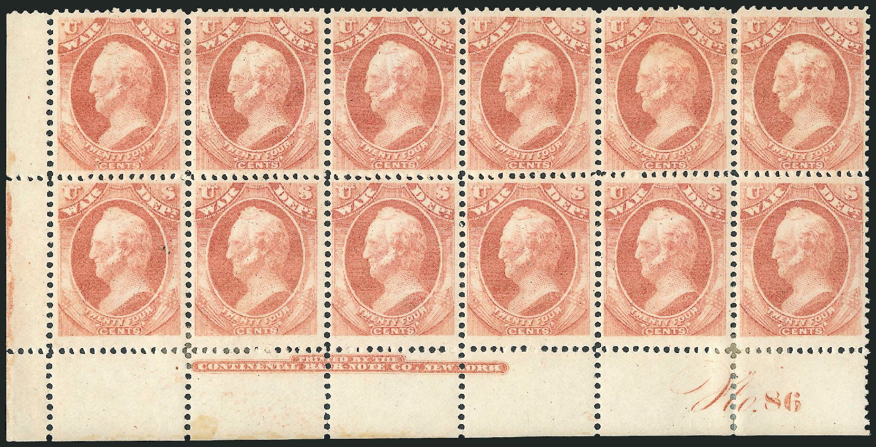 US Stamp Values Scott Catalog # O91: 1873 24c War Official. Robert Siegel Auction Galleries, Dec 2010, Sale 1003, Lot 5474