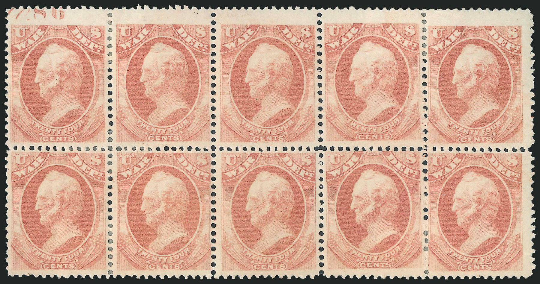 US Stamp Values Scott Catalogue O91: 24c 1873 War Official. Robert Siegel Auction Galleries, Dec 2010, Sale 1003, Lot 5475
