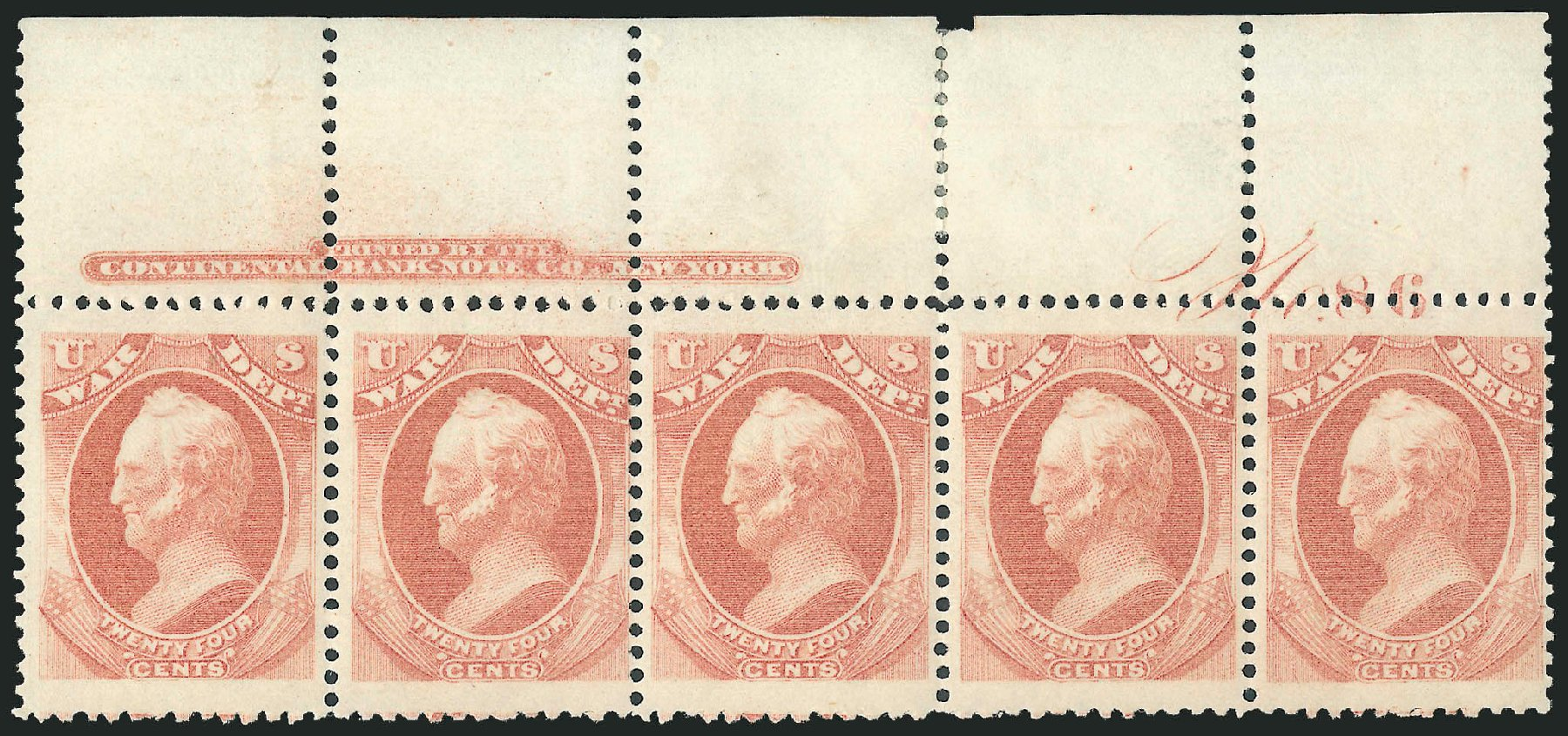 US Stamps Prices Scott Cat. O91: 1873 24c War Official. Robert Siegel Auction Galleries, Dec 2010, Sale 1003, Lot 5476