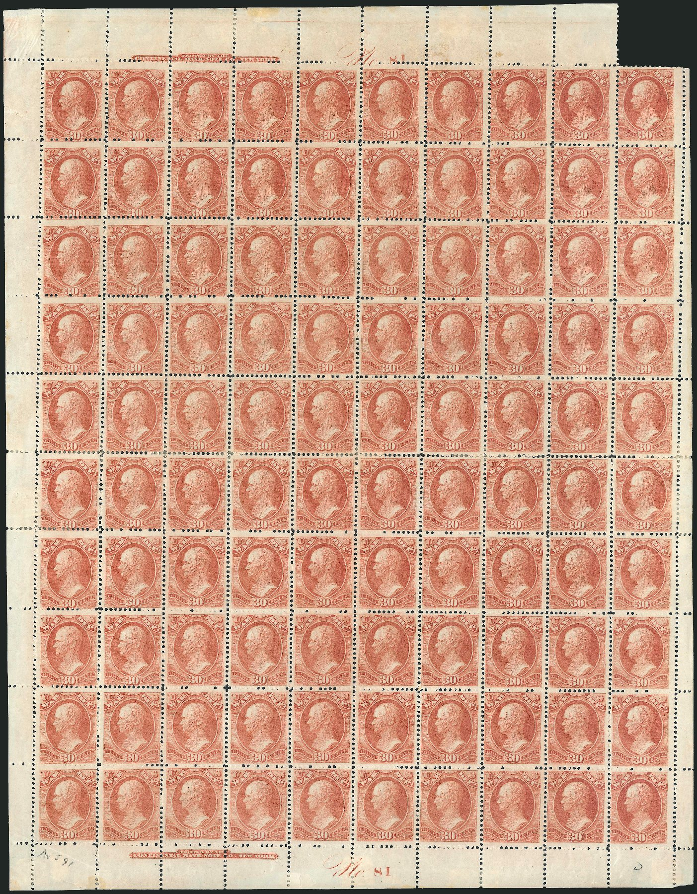 Value of US Stamps Scott Cat. # O92: 30c 1873 War Official. Robert Siegel Auction Galleries, Dec 2010, Sale 1003, Lot 5457
