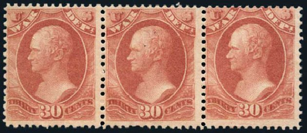 Costs of US Stamps Scott Catalog O92 - 30c 1873 War Official. Harmer-Schau Auction Galleries, Oct 2013, Sale 99, Lot 258