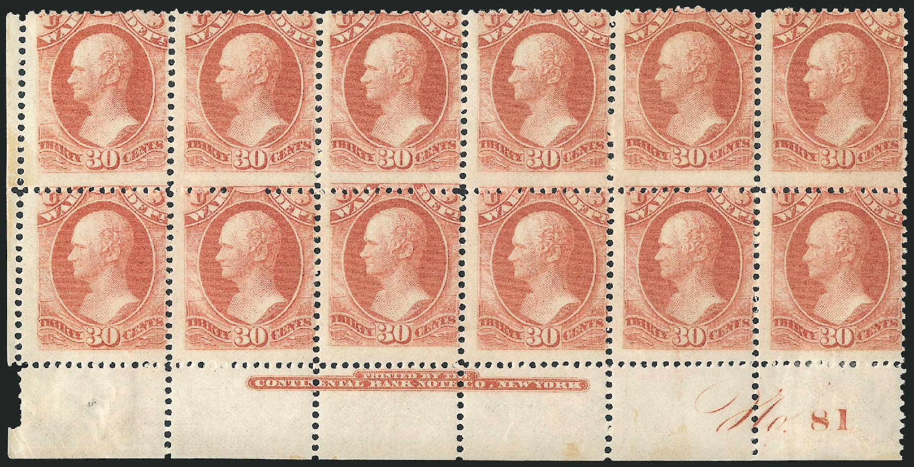 US Stamp Prices Scott Catalog #O92 - 1873 30c War Official. Robert Siegel Auction Galleries, Dec 2010, Sale 1003, Lot 5479