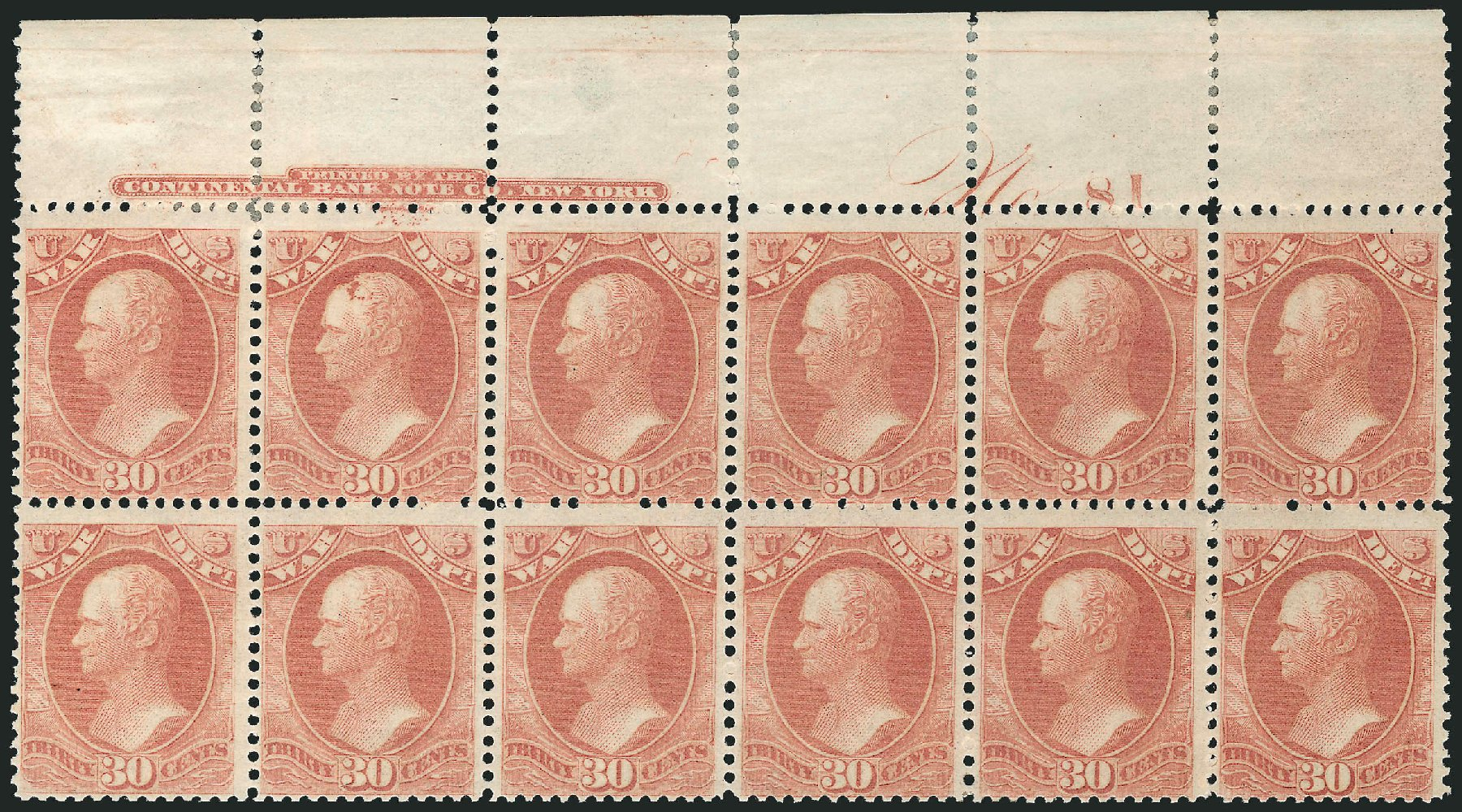 Costs of US Stamps Scott # O92 - 30c 1873 War Official. Robert Siegel Auction Galleries, Jul 2014, Sale 1077, Lot 450