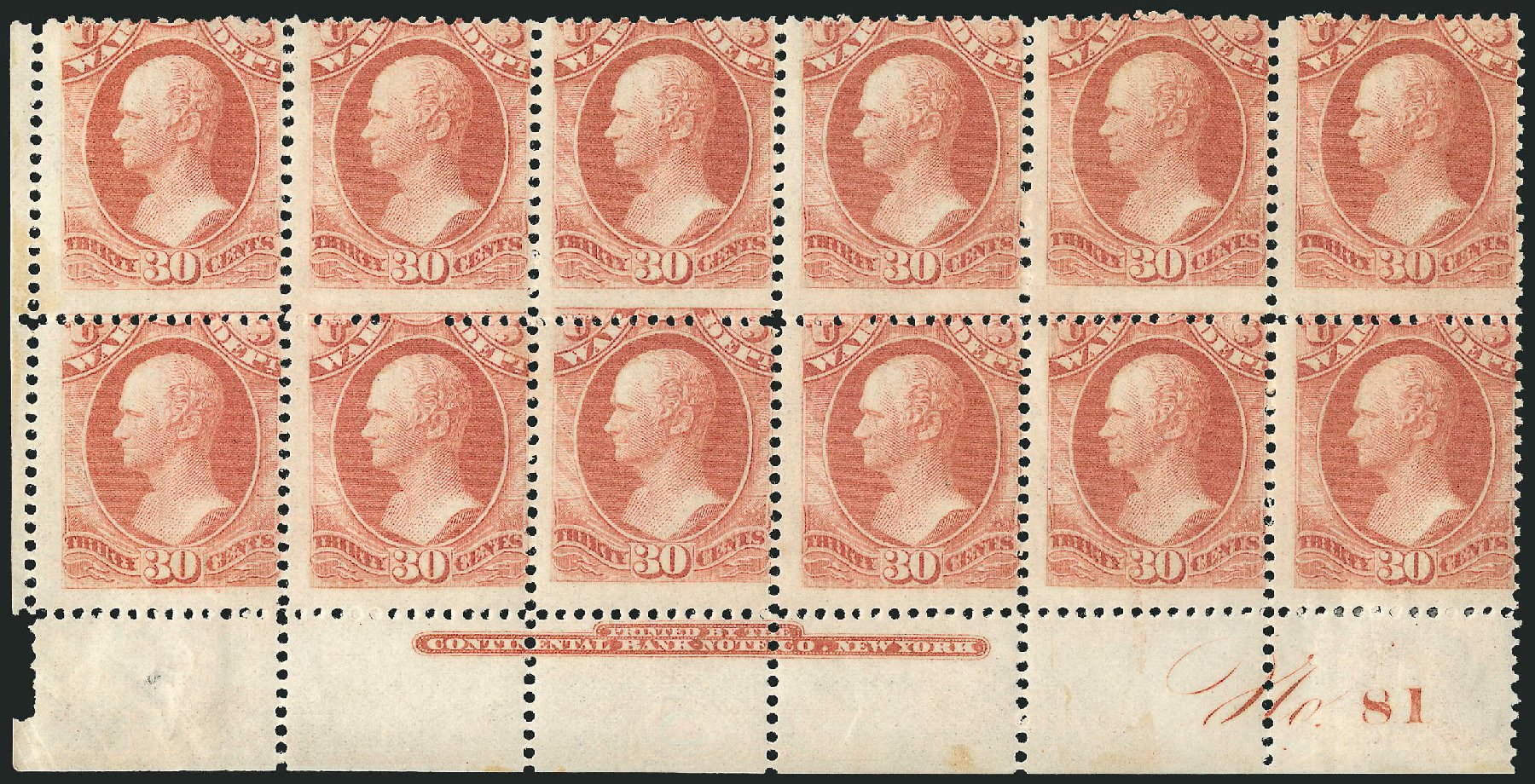 Price of US Stamps Scott Cat. O92 - 30c 1873 War Official. Robert Siegel Auction Galleries, Nov 2014, Sale 1085, Lot 4171