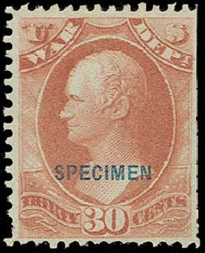 Cost of US Stamps Scott Catalog O92: 30c 1873 War Official. H.R. Harmer, Jun 2015, Sale 3007, Lot 3495