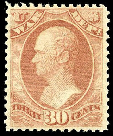 US Stamps Value Scott Catalog #O92 - 1873 30c War Official. Matthew Bennett International, Apr 2008, Sale 326, Lot 703