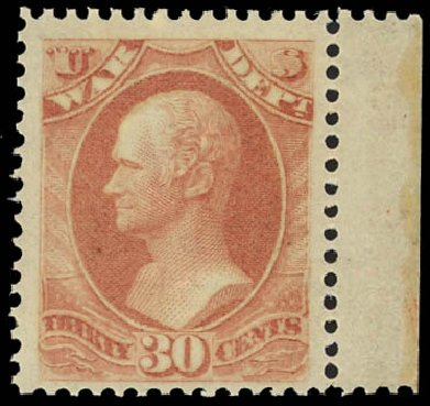 Costs of US Stamps Scott Catalogue O92: 30c 1873 War Official. Daniel Kelleher Auctions, Jan 2012, Sale 628, Lot 733