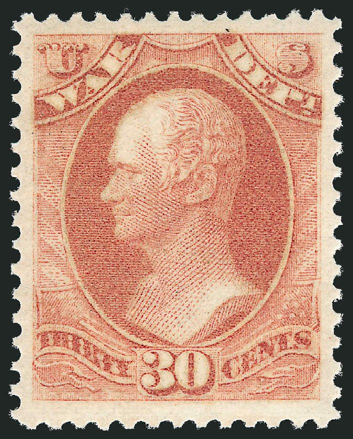 US Stamps Values Scott Catalog # O92 - 1873 30c War Official. Robert Siegel Auction Galleries, Mar 2013, Sale 1040, Lot 2163