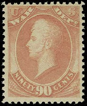 Price of US Stamp Scott Cat. #O93: 1873 90c War Official. H.R. Harmer, Jun 2015, Sale 3007, Lot 3497