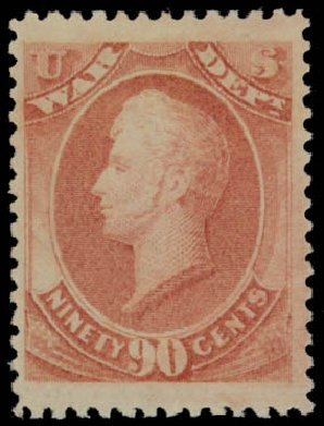 US Stamps Value Scott Catalog # O93 - 1873 90c War Official. Daniel Kelleher Auctions, May 2014, Sale 652, Lot 907