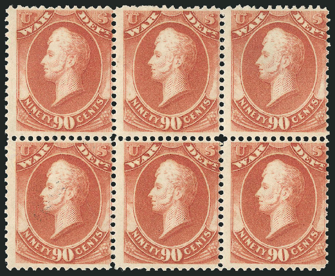 Value of US Stamps Scott Catalogue O93: 1873 90c War Official. Robert Siegel Auction Galleries, Jun 2015, Sale 1100, Lot 108