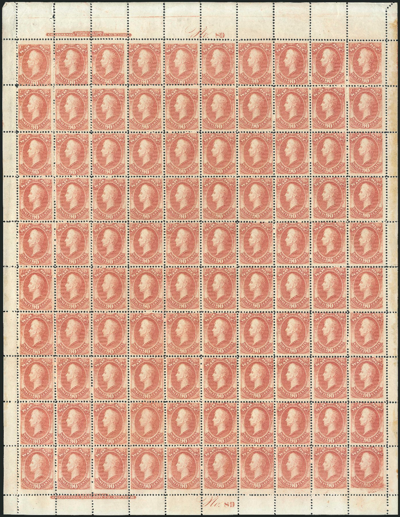 Costs of US Stamp Scott Cat. # O93: 90c 1873 War Official. Robert Siegel Auction Galleries, Oct 2011, Sale 1014, Lot 2369