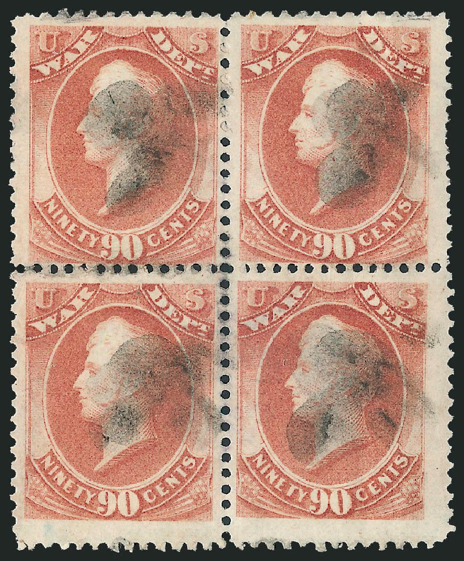Costs of US Stamp Scott Catalog #O93 - 90c 1873 War Official. Robert Siegel Auction Galleries, Nov 2013, Sale 1061, Lot 4185
