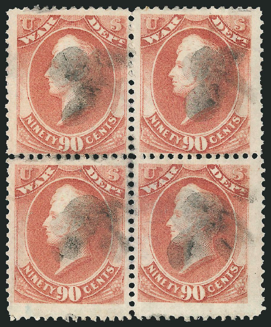 US Stamps Value Scott Catalog # O93 - 1873 90c War Official. Robert Siegel Auction Galleries, Nov 2014, Sale 1085, Lot 4175