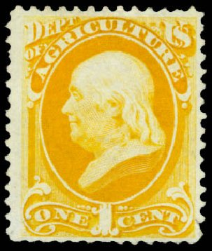 Prices of US Stamps Scott Cat. #O94 - 1c 1879 Agriculture Official. Daniel Kelleher Auctions, Oct 2014, Sale 660, Lot 2557
