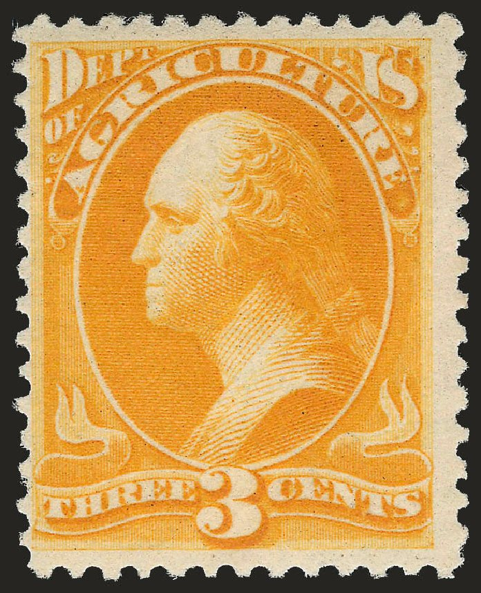 Values of US Stamp Scott Catalogue #O95: 3c 1879 Agriculture Official. Robert Siegel Auction Galleries, Jun 2009, Sale 975, Lot 2241