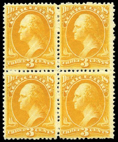 US Stamp Value Scott # O95 - 3c 1879 Agriculture Official. Matthew Bennett International, Mar 2011, Sale 336, Lot 1424