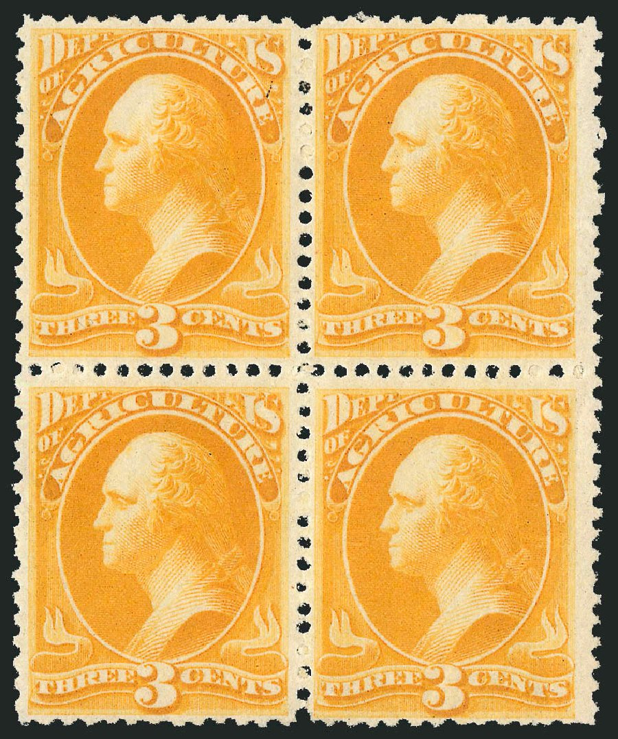 US Stamps Values Scott O95: 3c 1879 Agriculture Official. Robert Siegel Auction Galleries, Nov 2014, Sale 1085, Lot 4185