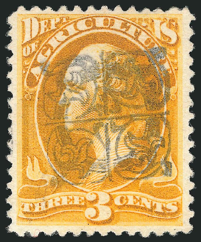 US Stamps Value Scott Cat. O95 - 1879 3c Agriculture Official. Robert Siegel Auction Galleries, Mar 2014, Sale 1067, Lot 1726