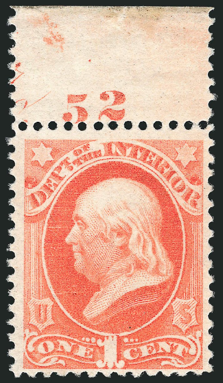 Values of US Stamps Scott # O96 - 1879 1c Interior Official. Robert Siegel Auction Galleries, Oct 2012, Sale 1033, Lot 4318