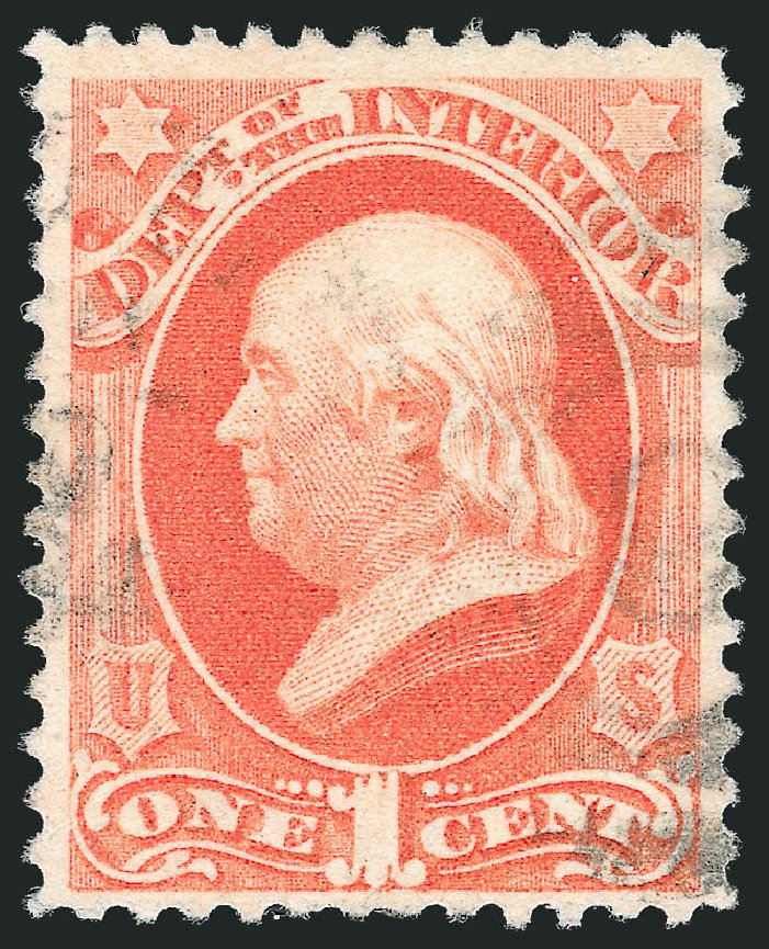 Costs of US Stamp Scott Catalogue # O96: 1c 1879 Interior Official. Robert Siegel Auction Galleries, Oct 2012, Sale 1032, Lot 3691
