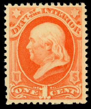 Value of US Stamps Scott Cat. #O96: 1c 1879 Interior Official. Daniel Kelleher Auctions, Dec 2013, Sale 640, Lot 624