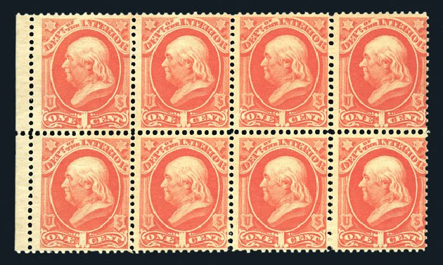 US Stamp Value Scott Cat. #O96: 1879 1c Interior Official. Harmer-Schau Auction Galleries, Aug 2015, Sale 106, Lot 2162