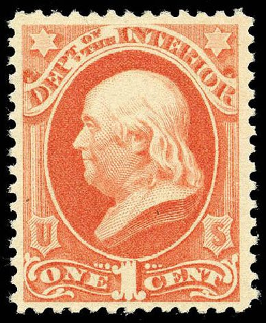 US Stamps Prices Scott Catalogue #O96: 1c 1879 Interior Official. Matthew Bennett International, Apr 2008, Sale 326, Lot 706