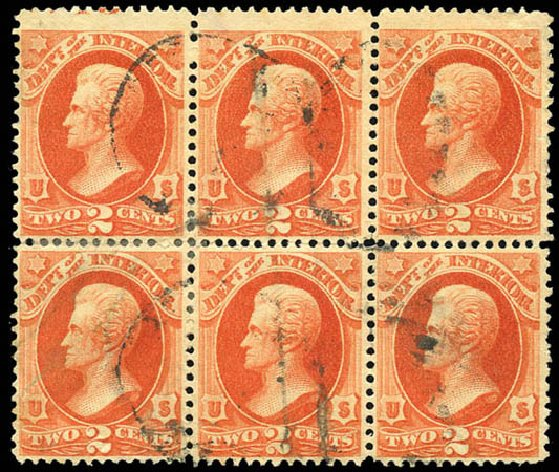 US Stamp Value Scott Catalog #O97 - 1879 2c Interior Official. Matthew Bennett International, Sep 2011, Sale 338, Lot 2062