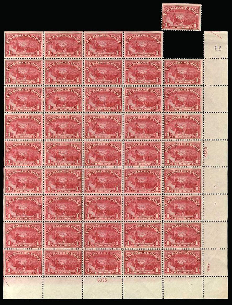US Stamp Values Scott Catalogue #Q1 - 1c 1913 Parcel Post. Cherrystone Auctions, Mar 2013, Sale 201303, Lot 151