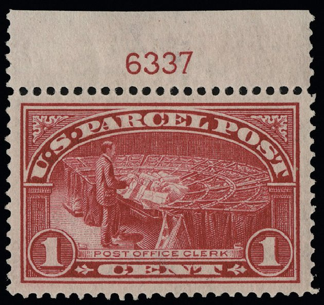 Values of US Stamps Scott Catalogue # Q1: 1c 1913 Parcel Post. Spink Shreves Galleries, Aug 2013, Sale 144, Lot 364