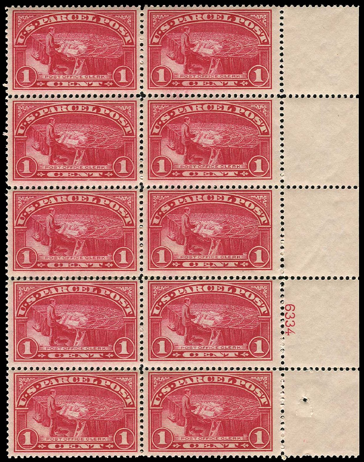 Cost of US Stamps Scott Cat. Q1: 1913 1c Parcel Post. Regency-Superior, Jan 2015, Sale 109, Lot 1752