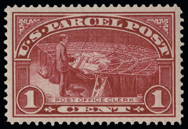 Values of US Stamp Scott Q1 - 1c 1913 Parcel Post. Spink Shreves Galleries, Aug 2013, Sale 144, Lot 363