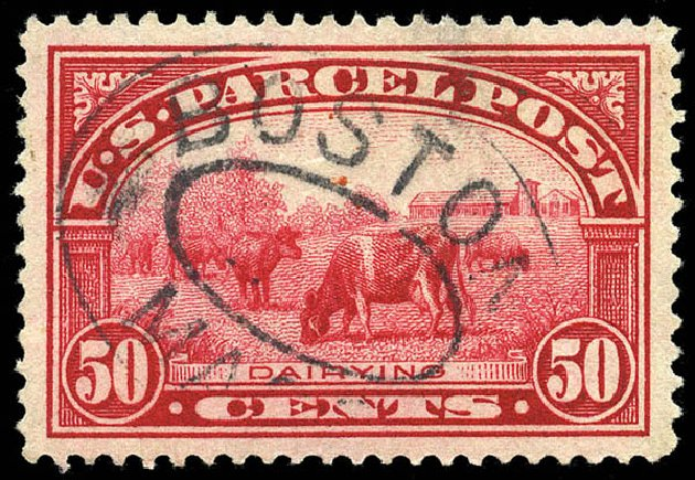 Values of US Stamp Scott # Q10: 1913 50c Parcel Post. Matthew Bennett International, May 2014, Sale 350, Lot 717