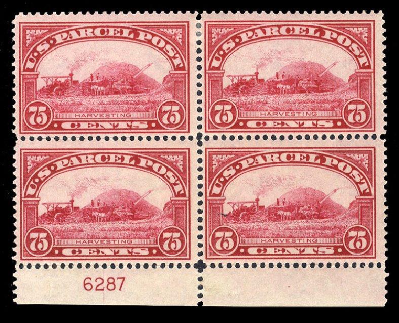 Value of US Stamp Scott # Q11 - 1913 75c Parcel Post. Cherrystone Auctions, Jan 2009, Sale 200901, Lot 288
