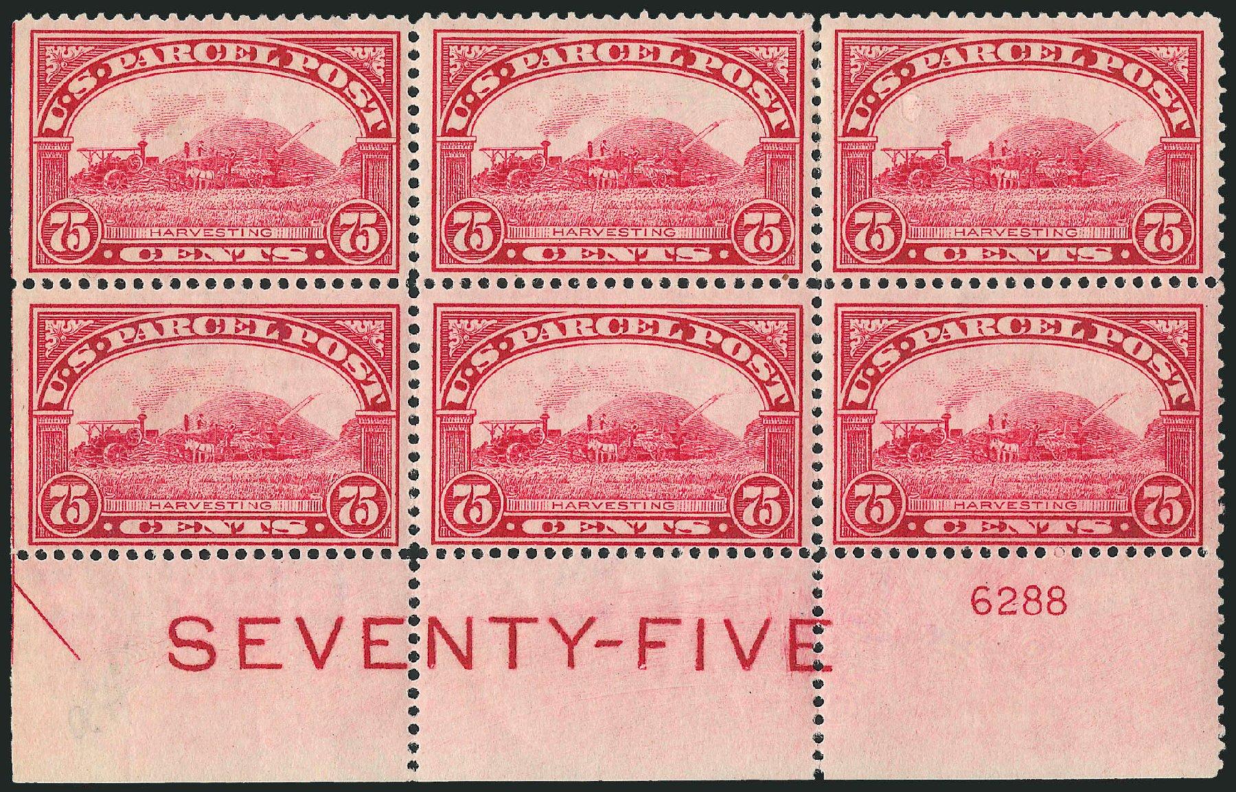Costs of US Stamps Scott Cat. # Q11: 75c 1913 Parcel Post. Robert Siegel Auction Galleries, Apr 2009, Sale 971, Lot 2208