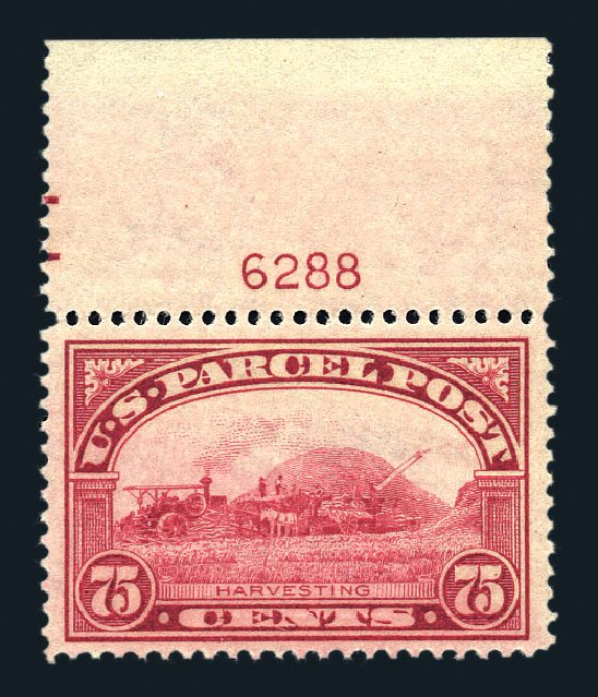 Cost of US Stamp Scott Catalogue #Q11: 1913 75c Parcel Post. Harmer-Schau Auction Galleries, Aug 2015, Sale 106, Lot 2180