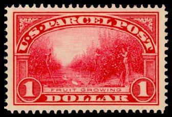 Value of US Stamps Scott Catalog Q12: US$1.00 1913 Parcel Post. Daniel Kelleher Auctions, Aug 2015, Sale 672, Lot 3028