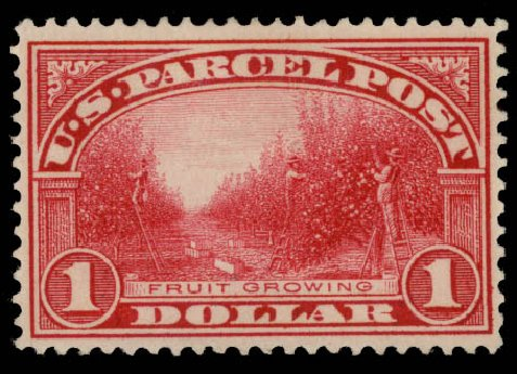 Values of US Stamps Scott Cat. #Q12: US$1.00 1913 Parcel Post. Daniel Kelleher Auctions, May 2015, Sale 669, Lot 3440