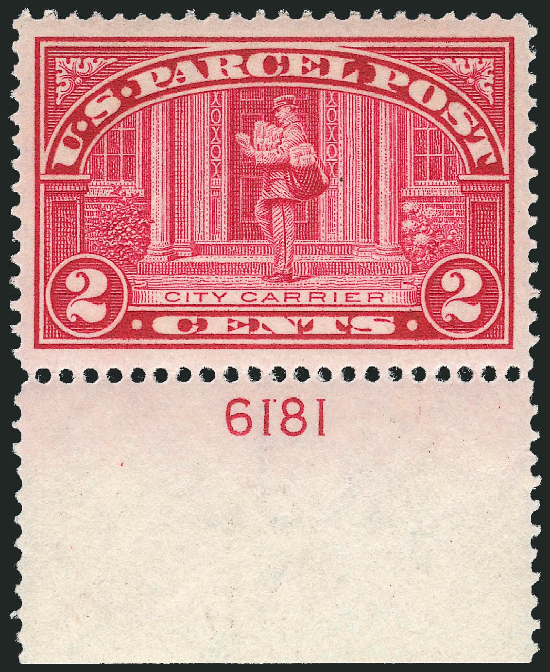 US Stamps Value Scott Catalog #Q2: 1913 2c Parcel Post. Robert Siegel Auction Galleries, Oct 2011, Sale 1014, Lot 2415