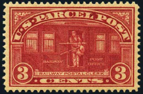 US Stamp Values Scott Catalog # Q3: 1913 3c Parcel Post. Harmer-Schau Auction Galleries, May 2012, Sale 93, Lot 488