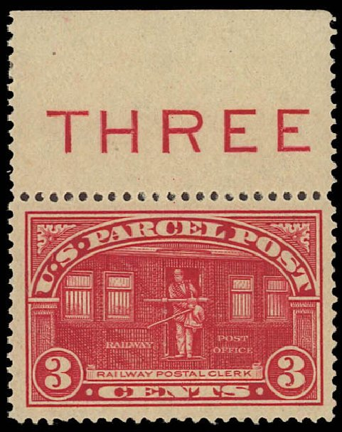 Value of US Stamp Scott Cat. # Q3: 3c 1913 Parcel Post. Daniel Kelleher Auctions, Aug 2012, Sale 631, Lot 1789