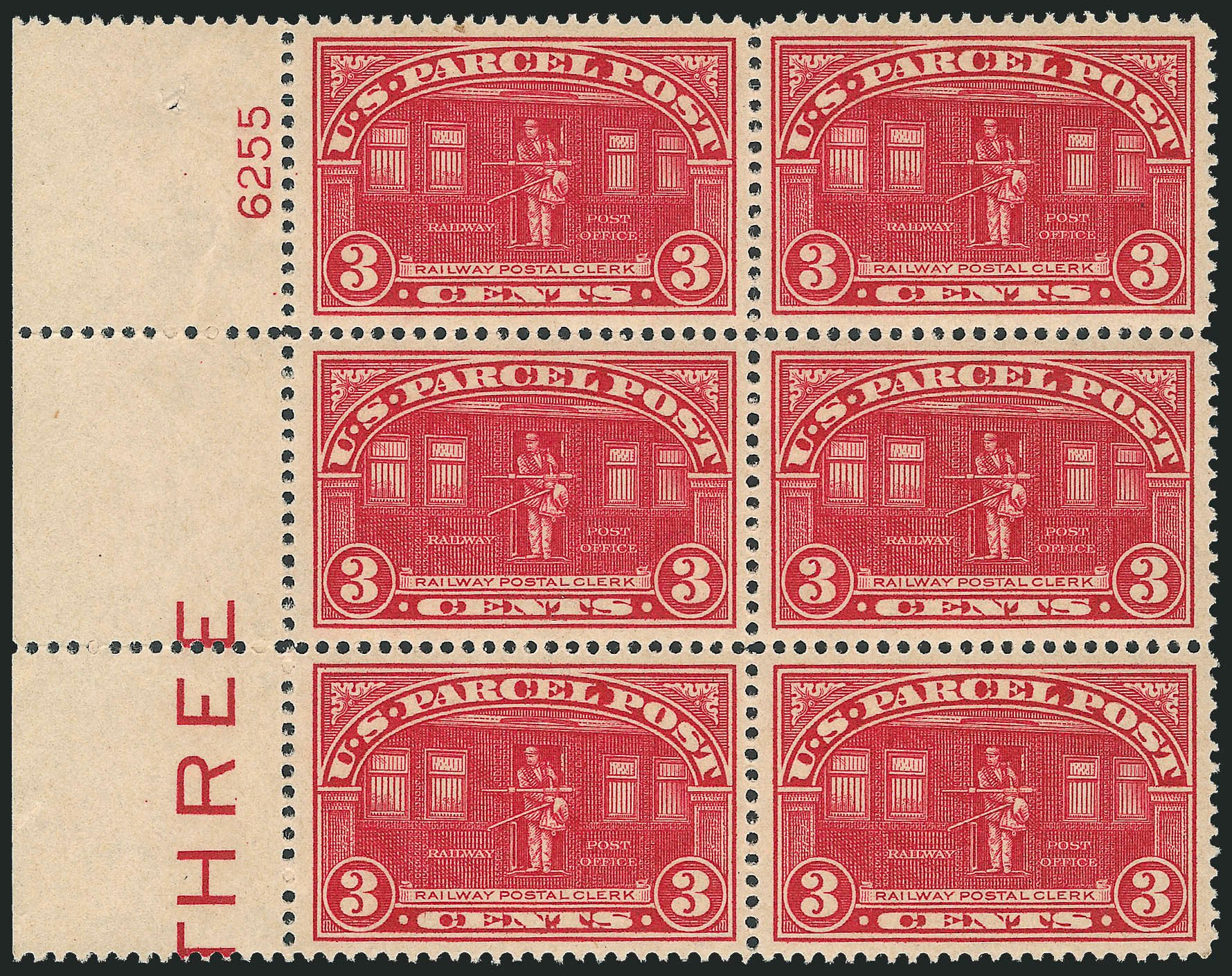 Values of US Stamp Scott Catalogue # Q3 - 3c 1913 Parcel Post. Robert Siegel Auction Galleries, Oct 2011, Sale 1014, Lot 2419