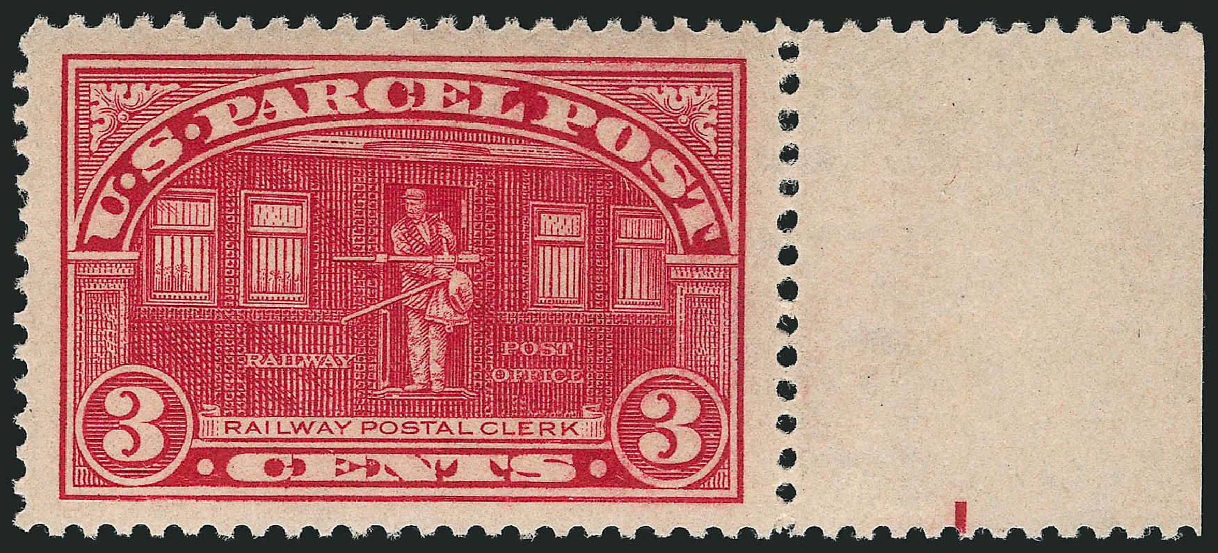 Value of US Stamps Scott Cat. # Q3 - 3c 1913 Parcel Post. Robert Siegel Auction Galleries, Mar 2014, Sale 1067, Lot 1741