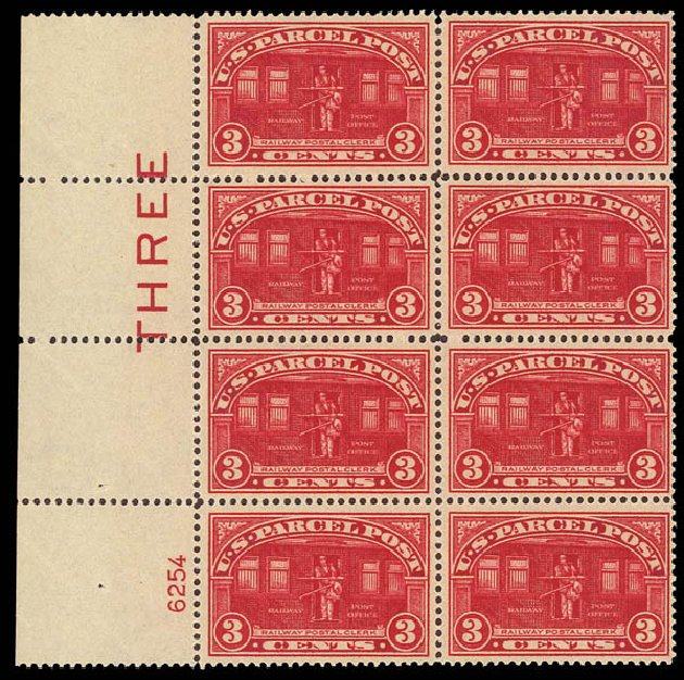Prices of US Stamps Scott Catalogue Q3 - 3c 1913 Parcel Post. Daniel Kelleher Auctions, Apr 2012, Sale 629, Lot 484
