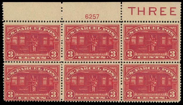 Price of US Stamp Scott Catalogue Q3: 1913 3c Parcel Post. Daniel Kelleher Auctions, Apr 2012, Sale 629, Lot 485