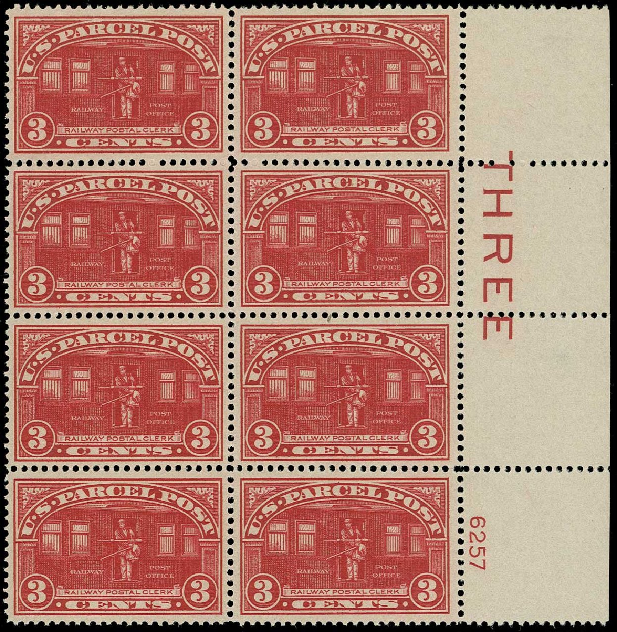 US Stamp Price Scott Catalogue #Q3 - 3c 1913 Parcel Post. H.R. Harmer, Jun 2015, Sale 3007, Lot 3502