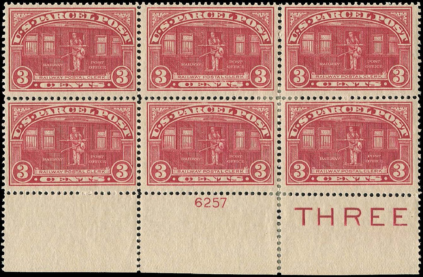 Cost of US Stamps Scott Cat. Q3: 1913 3c Parcel Post. Regency-Superior, Nov 2014, Sale 108, Lot 1452